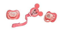 Cudlie Accessories Minnie Mouse 2 Pack Orthodontic Pacifier, 1 Clip Holder Set
