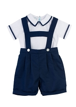 Feltman Brothers 2-Pieces Susperder Short Set Boy-White-Navy