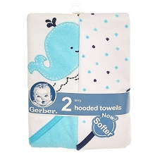 Gerber 2 Pack Terry Hooded Towel, Boy-Whale