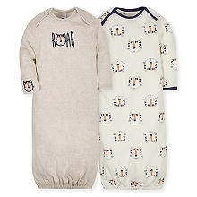 Gerber 2 Pack Gown Boy, Tiger 0-6 Months