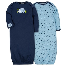 Gerber 2 Pack Gown Boy, Hedgehog  0-6 Months