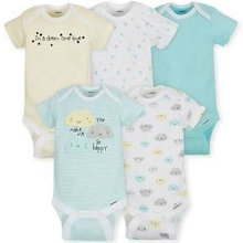 Gerber 5 Pack Onesies® Neutral-Clouds 0-3 Months