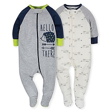 Gerber 2 Pack Zip Front Sleep 'n Play Boy Hedgehog 6-9 Months