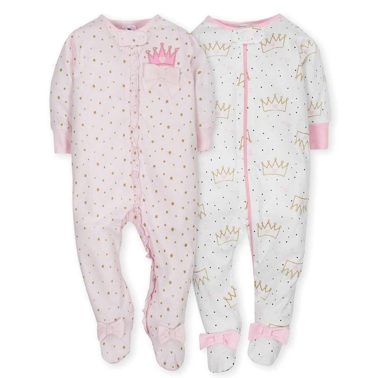 a4729c2b936d Gerber 2 Pack Zip Front Sleep  n Play Girl Princess 0-3 Months ...