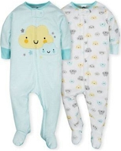 Gerber 2 Pack Zip Front Sleep 'n Play Neutral Clouds 6-9 Months