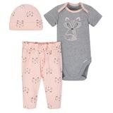Gerber Foxy 3 Pieces Bodysuit, Cap and Pants, Newborn-Girl