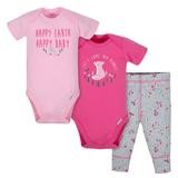 Gerber Happy Earth 3 Pieces Bodysuit and Pant Set, Girl, 3-6 Months