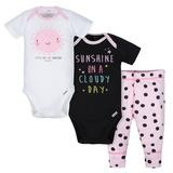 Gerber Sunshine 3 Pieces Bodysuit and Pant Set, Girl, 0-3 Months
