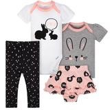 Gerber Little Heart 4 Pieces Bodysuit Girl Set, Newborn