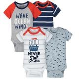 Gerber Boat 4 Pack Short Sleeveless Bodysuit Boy, 3-6 Months