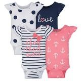 Gerber Navy 4 Pack Short Sleeveless Bodysuit Girl, 3-6 Months