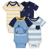 Gerber Whale 4 Pack Short Sleeveless Bodysuit Boy, Newborn