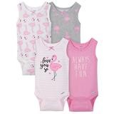 Gerber Flamingo 4 Pack Sleveless Onesies®, 3-6 Months-Girl