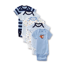 Gerber Baby Boys' Five-Pack Variety Bodysuits, Transportation Newborn