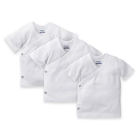 Gerber Side Snap Short Sleeve Shirt Newborn 3 Pack White