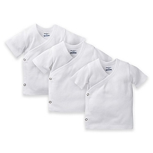 Gerber Side Snap Short Sleeve Shirt 0-3 Months, 3 Pack, White