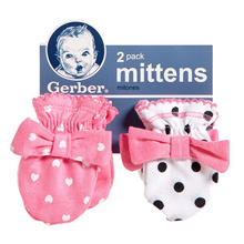 Gerber Baby 2 Pack Mittens, Elephant, 0-3 months Girl