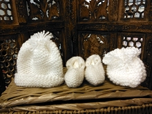 Will'beth Crochet Baby Knit Hat, Booties, Mittens 3-Pieces