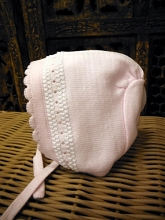 Will'beth Sweet Pink Knit Baby Bonnet