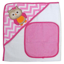 Hamco Owl Hooded Towel Pink Applique