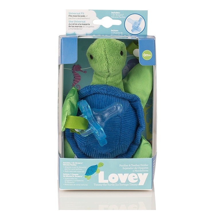 Green//Blue Dr Turtle Lovey with Blue One-Piece Pacifier Brown/'s