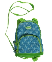Nuby Double Pocket Quilted Harness Backpack Lime-Blue