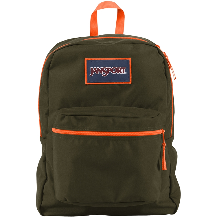 Jansport Overexposed Backpack Green Machine And Flourescent Orange Ideal Baby
