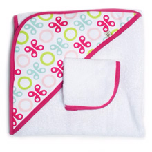 Tomy International by JJ Cole Hooded Towel Pink Butterfly