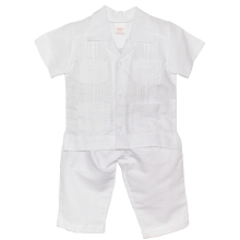 Karela Kids Christening 2-Pieces Linen Set White-Boy