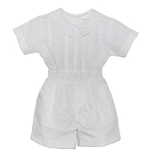Karela Kids Linen Bubble Romper 2 Pieces Set Boy, White