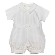 Karela Kids Christening Pique Bubble Romper White-Boy