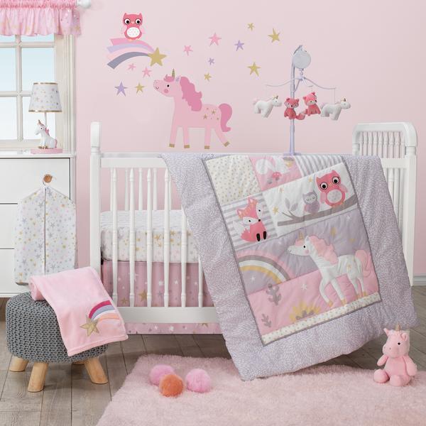 Bedtime Originals Rainbow Unicorn Bedding Crib Set 3 Pieces