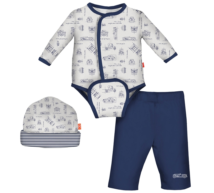 a4f458036 Magnificent Baby Babidu BluePrint Magnetic Burrito Bodysuit 3-Pieces Set.  Tap to expand