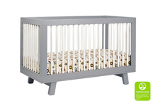 Babyletto Hudson 3 in 1 Convertible Crib in Grey & White
