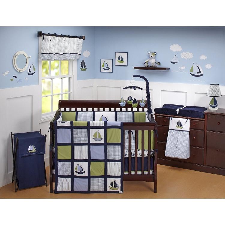 Crown Craft Nautica Zachary 6 Piece Bedding Set Ideal Baby