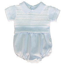 Karela Kids Knitted Bubble Romper with Pique Bottom Boy, 0-3 Months