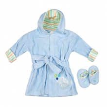 Baby Time Big Oshi  Blue Velour Bathrobe with Slippers 0-9 Months