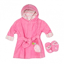 Baby Time Big Oshi  Pink Velour Bathrobe with Slippers 0-9 Months