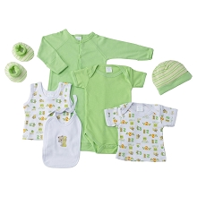Baby Time Big Oshi 7 Pieces Layette Gift Set Green
