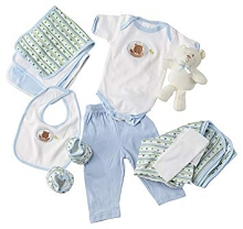 Baby Time Big Oshi 10 Pieces Layette Basket Set Blue