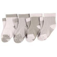 Luvable Friends Socks 4 Pack 12-24 Months White-Grey