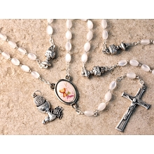 San Francis 1st Communion Rosary White