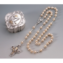 San Francis 1st Communion Rosary 5MM Faux Pearls Beads Madonna Center