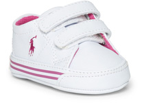 Ralph Lauren Layette Scholar EZ Shoes Tumbled White/Pink