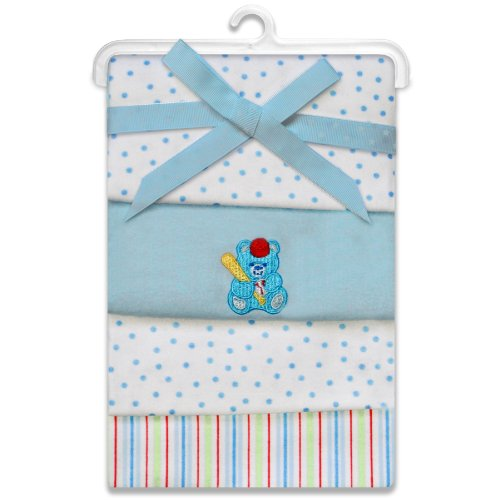Spasilk Flannel Receiving Blanket 4-Pack Blue Bear