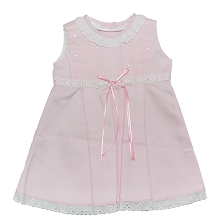 Karela Kids Pique Dress with Lace, Pink