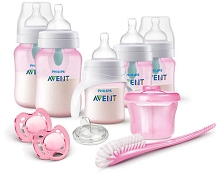 Avent Anti-Colic Bottle with AirFree Vent Gift Set-Girl