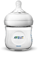 Avent  Natural Baby Bottle Clear 4oz, 2 Pack