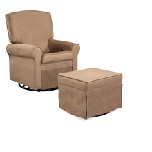 Shermag Swiveled Upholstered Glider Rocker & Ottoman, Slam Dunk Tourbe