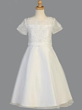 Lito Childrenswear Beaded Satin Communion Dress White